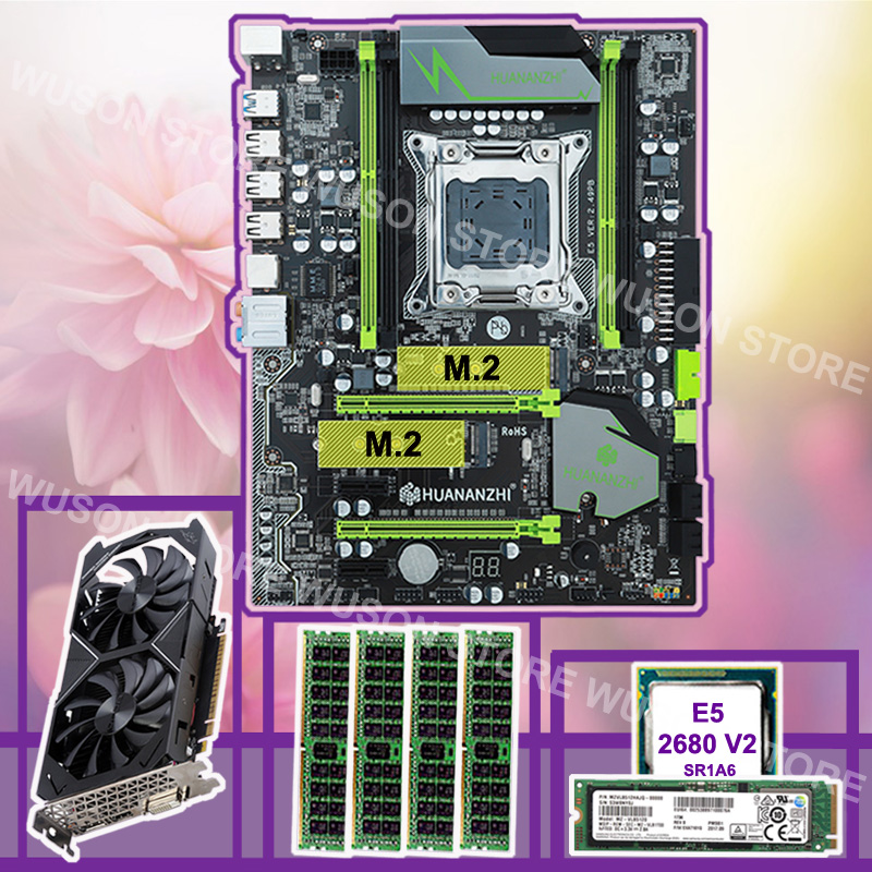 HUANANZHI X79 Pro Motherboard With 512G NVMe SSD Discount Motherboard CPU Xeon E5 2680 V2 RAM 64G(4*16G) Video Card GTX1050Ti 4G