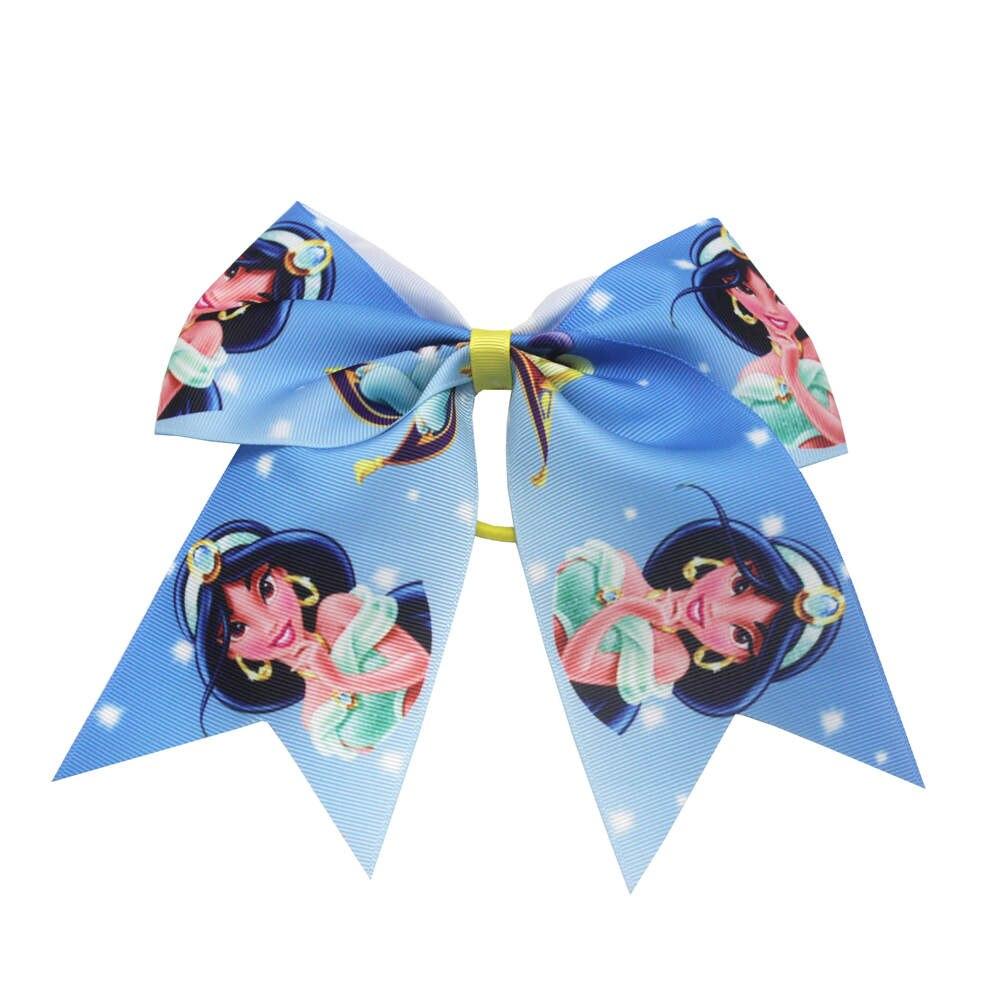 New 7 Inch Print Princess Hair Bows Girls Cheer Bows Elastic Hair Bands Polyester Ribbon Kids Girls Hair Accessories Gift