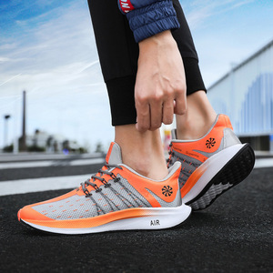 Image 2 - حار بيع البرتقال رمادي حجم 46 القمرية الرجال المدربين الأحذية الهواء شبكة تنفس سباق مرونة الإنزلاق الرجال أحذية رياضية الهواء تنيس هومبر