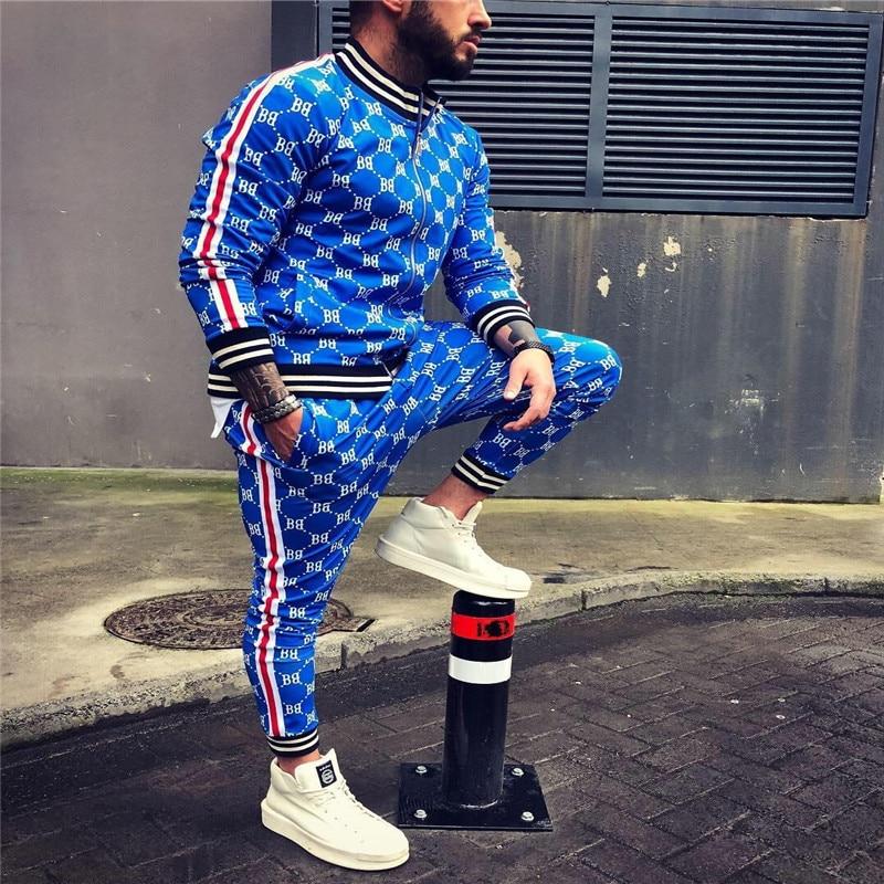 Brand Tracksui Men Casual Zipper Sets Tracksuit 2 Piece Suit Male Sweatshirt Pocket Fashion Jacket + Pants Mens Slim Splice Sets