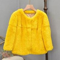 natural real rex rabbit fur coat 2019 new fashion winter coat women 7 minutes of sleeve parka real fur clothing o neck coats