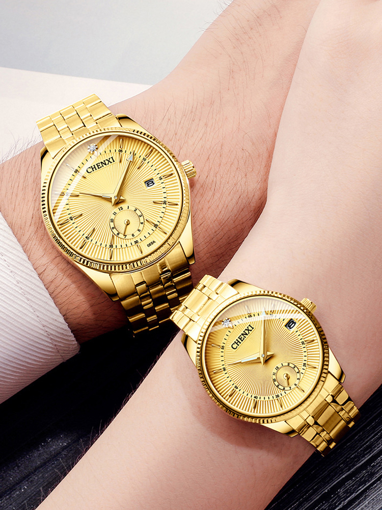 Men Watches Clock Dress CHENXI Fashion Luxury Relogio Quartz Top-Brand Lover's Gold