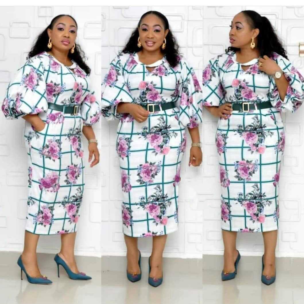 2019 Autumn New Elegent Fashion Style Printing African Women Plus Size Dress M-2XL