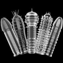 Silicone masculino pênis anel mangas atraso ejaculação reutilizável preservativo castidade galo anel sexo brinquedos para homem artigos íntimos sex shop
