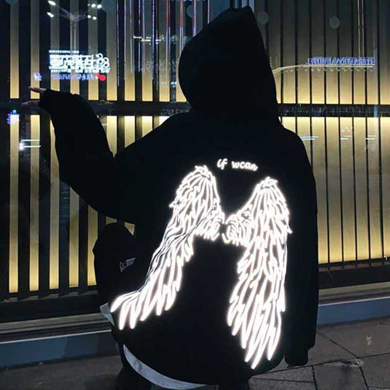 The Angel Wings On Your Back Printed Street Style Thick Unisex Hoodies Winter Warm Pullover Coat Women Punk Hoodies