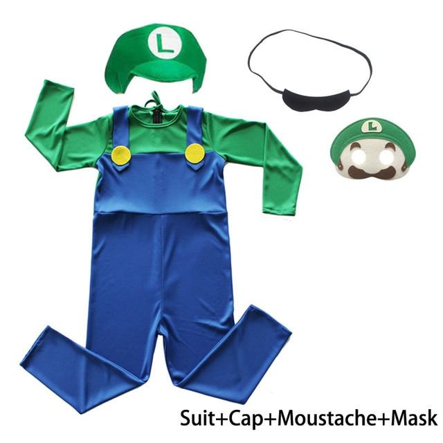 Kids Gamer 80s PLumber Mate Boy Cosplay Fancy Dress Costume Age 3-8 4