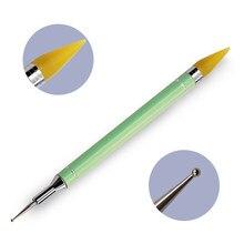 2-ended unha arte picker caneta cristal grânulo lidar com pontilhar caneta diy arte do prego picker cera lápis ferramenta