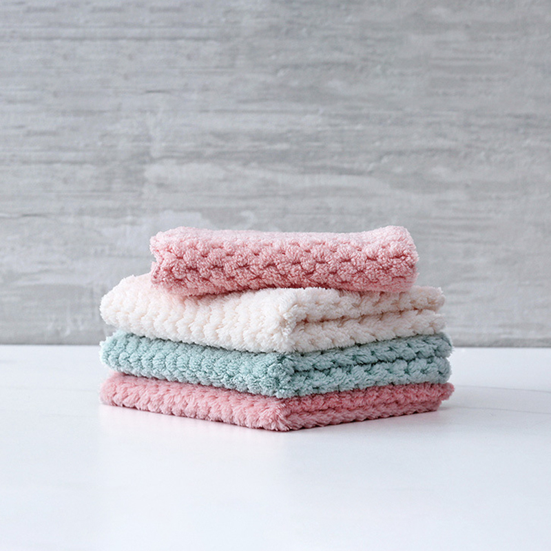 Super Absorbent Anti-grease Pineapple Plaid Washing Dish Towel Multi-function Kitchen Supplies Coral Velvet Wiping Rags