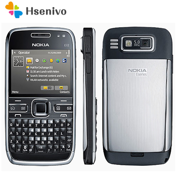 E72 100% Original Nokia E72 Mobile Phone 3G Wifi GPS 5MP Black Unlocked E Series Smartphone & One year warranty refurbished