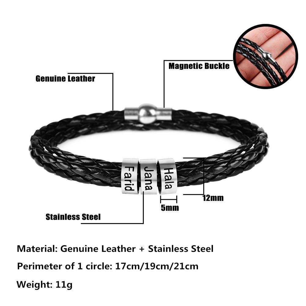 Custom Women Mens Bracelets Stainless Steel Bead Charm Bracelets Genuine Leather Braided Rope For Femme Personalise 1-9 Name