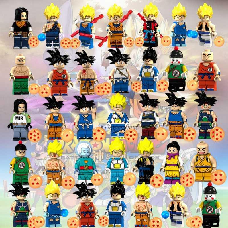 واحد بيع لعبة دراغون بول Z سوبر غوكو Saiyans فيغيتا سون خلية Gogeta اللبنات شخصيات كرتونية مجموعة لعب للأطفال الهدايا