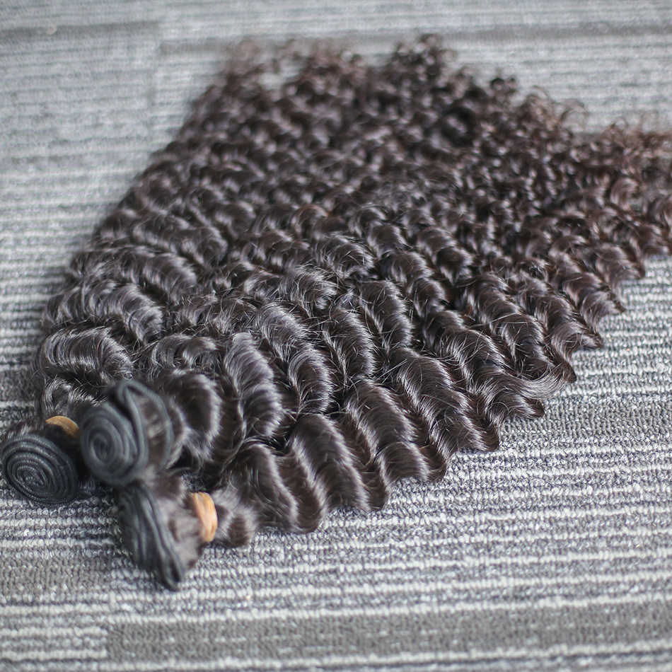 Rosabeauty Grade 10A Deep Wave Virgin Hair Brazilian Curly Human Hair Weave Bundles 8-30 28 30Inch Natural Color Hair Extensions