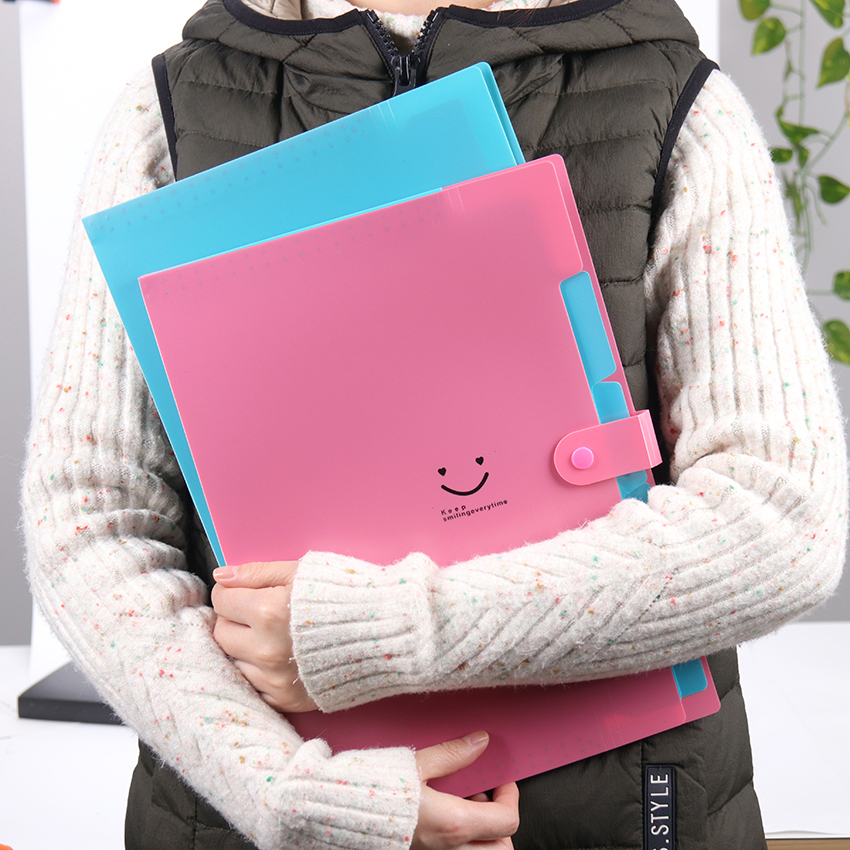 1PC Lovely A4 Waterproof File Document Bag Pouch Bill Folder Holder Organizer Office Stationery Supplies Expanding File Folder