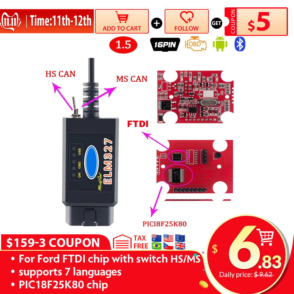 PIC1825K80 ELM327 USB V1 5 For Ford FTDI chip with switch HS MS OBD 2 CAN  For Forscan car diagnostic Tool  amp  elm 327 usb Version
