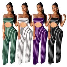 Sexy Casual Sleeveless Striped Jumpsuit Strapless Crop Top Loose Long Pants Women's Clothing Club Party Bodycon Summer Jumpsuit 2019 hot fashion womens summer casual sleeveless strappy tank dress loose slim party club midi bodycon new