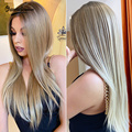 CharmSource Lace Front Wigs Long Straight Synthetic Wig Brown Ombre Blonde Daily Party Cheap for Black White Women High Density