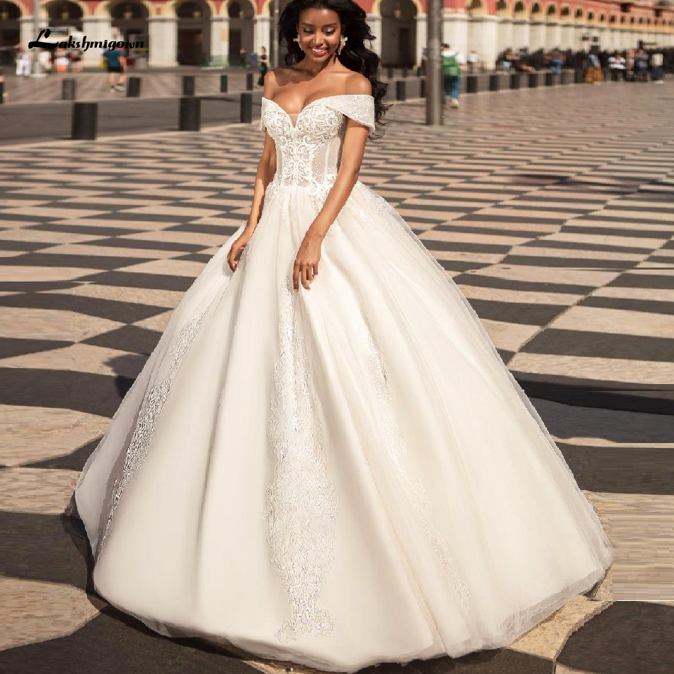 Sparkly African Bridal Gowns 2020 Vintage Lace Corset Wedding Gown Off Shoulder Glitter Tulle Mariage Dress Vestaglia Sposa