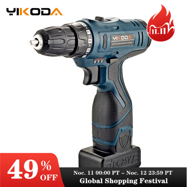 YIKODA 25V Electric Screwdriver Lithium Battery Rechargeable Double Speed Cordless Electric Drill  DIY Household Power Tools