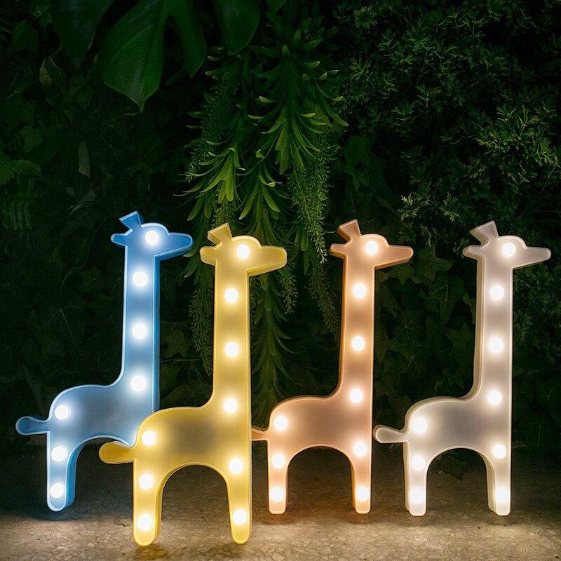 Battery LED Giraffe Shape Novetly Lights For Children's Bedroom Birthday Gift Living Room Christmas Decoration Lights 30*15.5CM