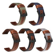 Vintage Nylon Leather Watch Band Strap Pin Buckled Wristwatch Bands Replacement Watchbands(China)