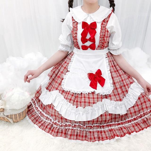 Фото японская одежда kawaii платье лолиты для горничной в клетку