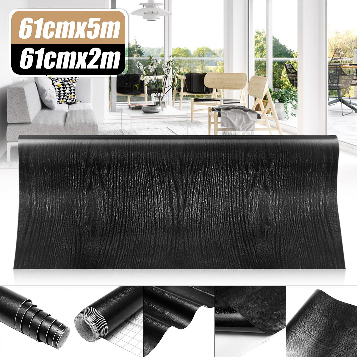 2M/5M Wood Grain Wallpaper Wall Stickers Films Refurbished Wardrobe Kitchen Clothes Cupboard Door Desktop Furniture Home Decor
