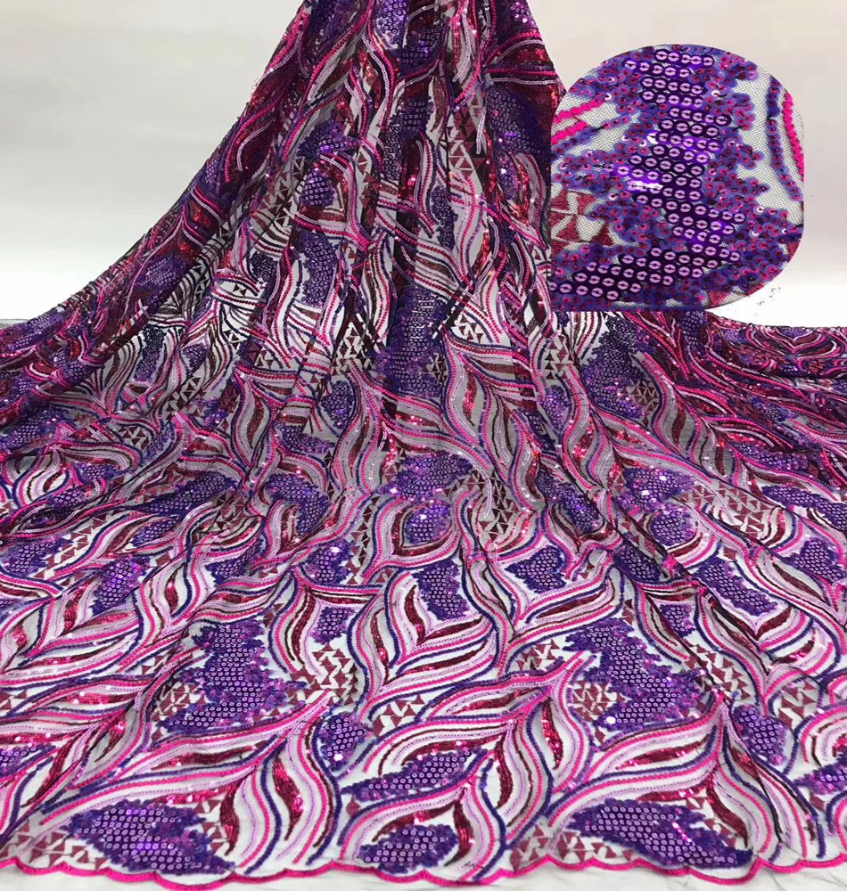 New Design African Tulle Lace Fabric With Sequins High Quality Nigerian French Sequins Lace Fabric For Party Dress TS9023