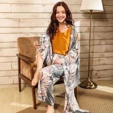 ฤดูใบไม้ผลิและฤดูร้อนสุภาพสตรี Cardighn + เสื้อกั๊ก + กางเกงขาสั้น + กางเกง 4Pcs ชุดนอนชุด Banmboo ใบพิมพ์ผู้หญิงชุดนอนนุ่มบาง Homewar