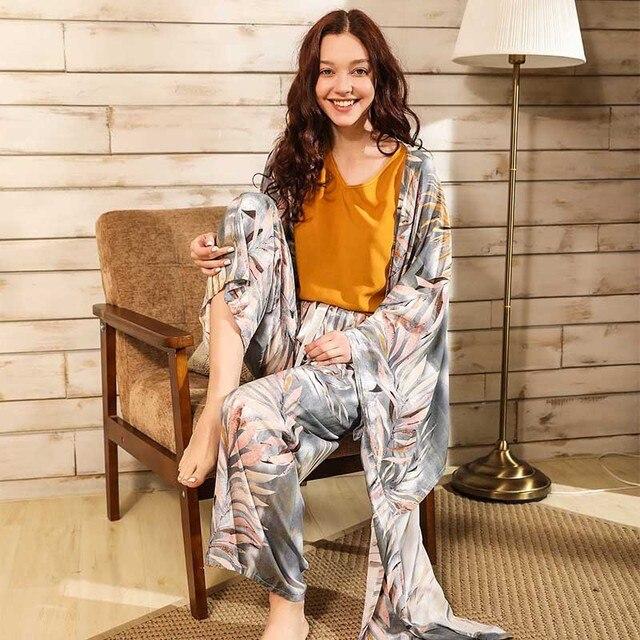 Primavera & verão senhoras cardighn + colete + shorts calças 4 pcs pijamas conjunto banmboo folhas impressão sleepwear feminino macio solto fino homewar