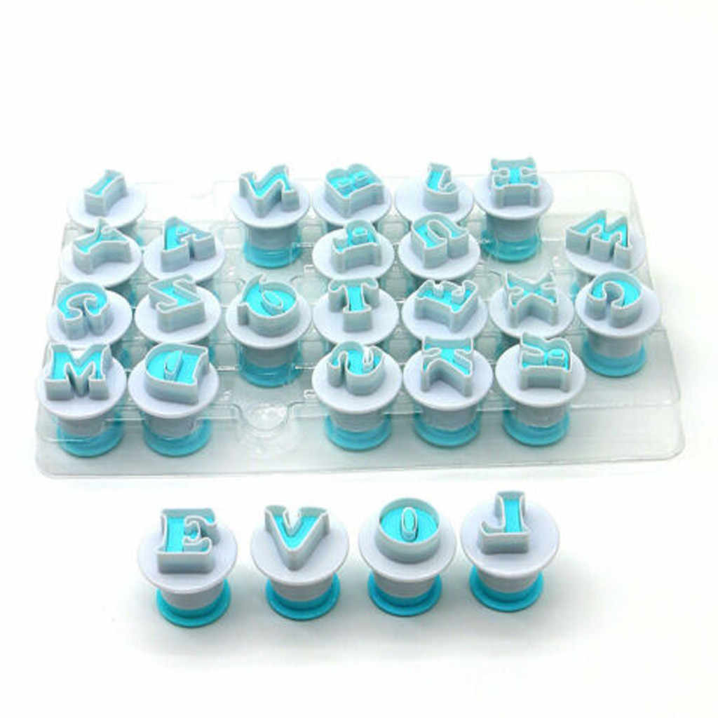 36PC Alphabet Letters Number Push Cutters Fondant Cookie Tools Cake Mold Set