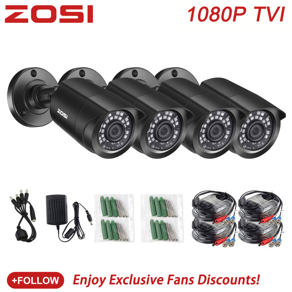 ZOSI 4 PCS Bullet 1080P TVI CCTV Video Surveillance Camera IR Nightvision 2MP Videcam CCTV Security Cable Cam For DVR System