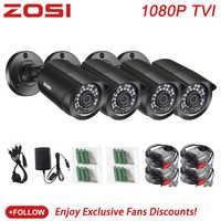 ZOSI 4 PCS Pallottola 1080P TVI CCTV video di sorveglianza Della Macchina Fotografica di IR Nightvision 2MP videcam CCTV Cavo di Sicurezza Cam per sistema DVR