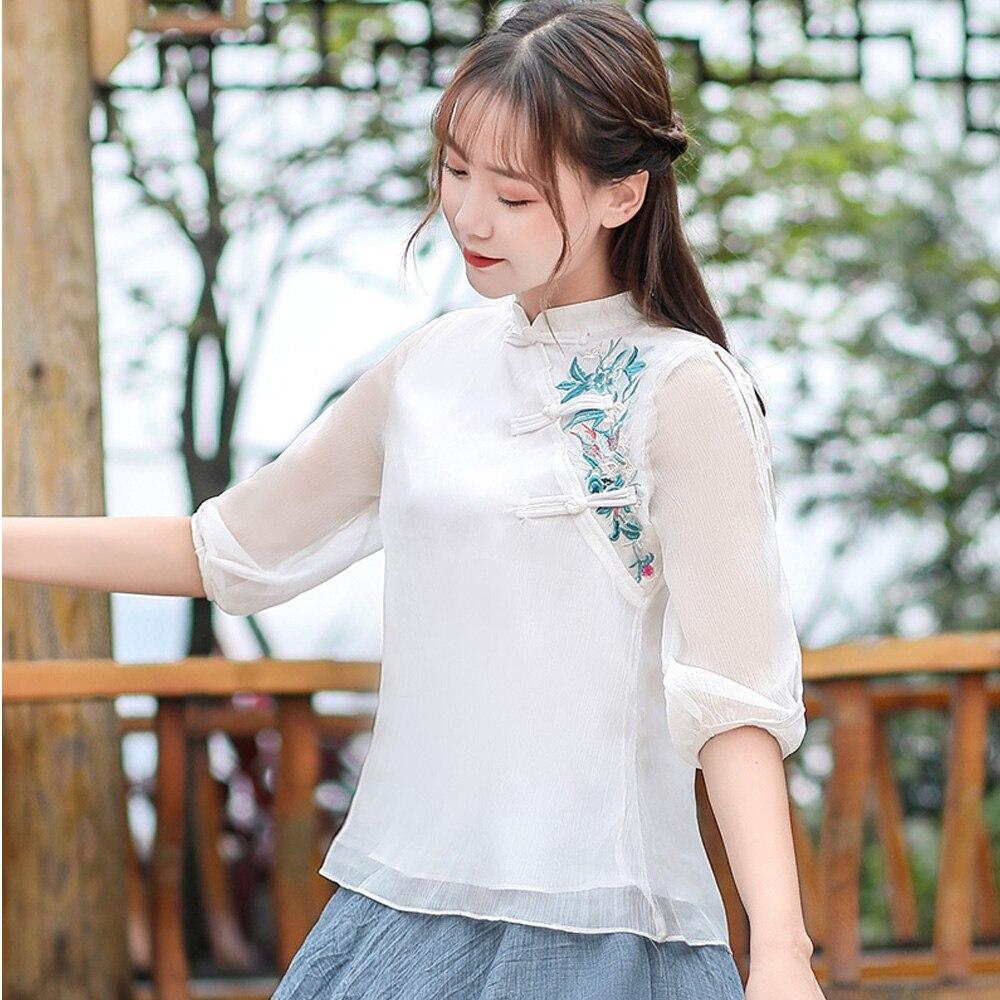 2020 Cute Sweet New Fashion Vintage Frog White Chiffon Blouse Women Mesh Shirt Chinese Style Clothing Cheongsam Top Qipao Shirt