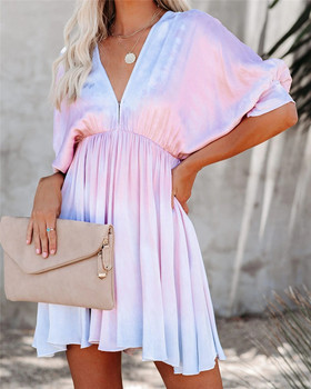 Women Tie Dye Print Ruffle Short Sleeve Mini Dress Summer Casual Sexy V neck Backless Streetwear Party Vintage Dress Robe short sleeve self tie dolman dress