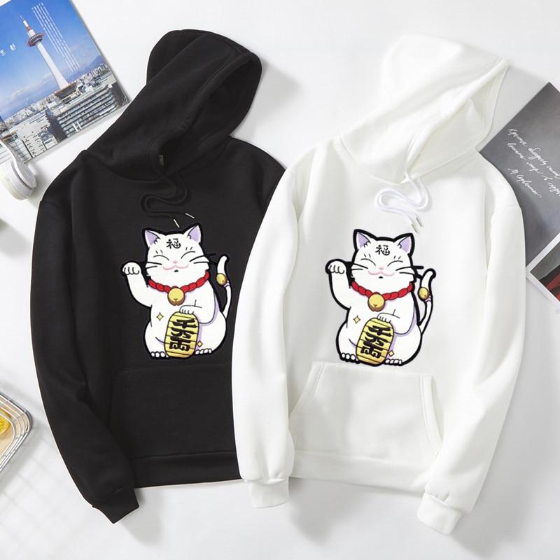 Lucky Cat Cartoon print hoodies 2019 Harajuku Autumn Winter new Oversized Warm sweatshirt Harajuku hip hop Kawaii Couple clothes