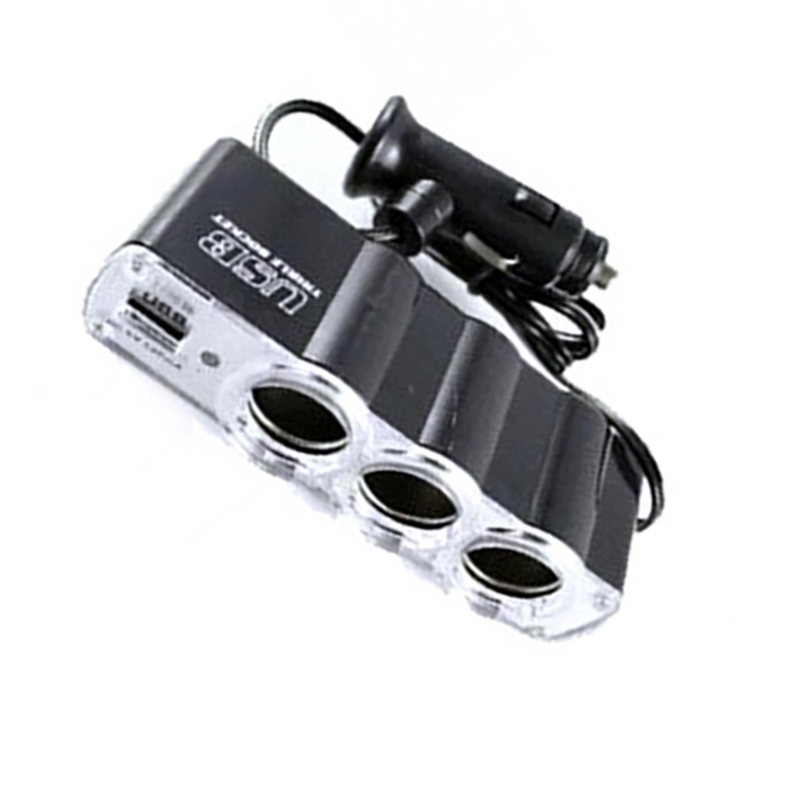 2019 4 in 1 <font><b>3</b></font>-Socket Cigarette Lighter Splitter 12V/24V <font><b>Car</b></font> Power DC Outlet <font><b>Adapter</b></font> with <font><b>USB</b></font> Charging <font><b>Ports</b></font> <font><b>Car</b></font> <font><b>Charger</b></font> image