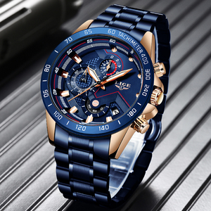 Image 1 - 2019 LIGE New Blue Fashion Business Clock Mens Watches Top Brand Luxury All Steel Waterproof Quartz Gold Watch Relogio Masculino