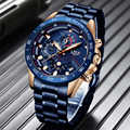 2019 LIGE nouveau bleu mode affaires horloge hommes montres haut marque de luxe tout en acier étanche Quartz or montre Relogio Masculino