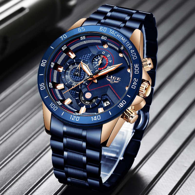2019 LIGE yeni mavi moda İş saat erkek saatler Top marka lüks tüm çelik su geçirmez kuvars altın İzle Relogio Masculino