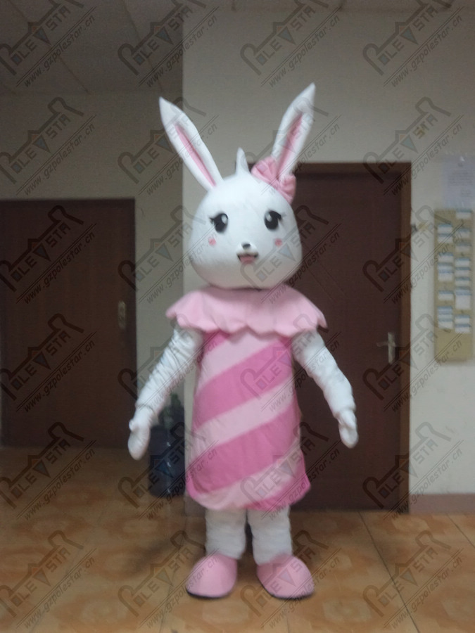 pink bunny mascot costume character  cartoon dress rabbit costumes