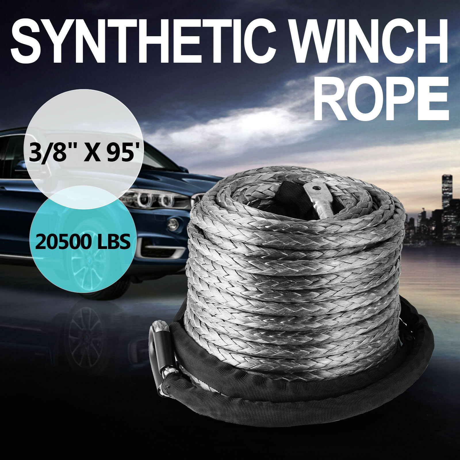 Winch Synthetic Line Cable Rope 20500 LBs Recovery W/ Thimble Sleeve 10mm 28m 9299kg