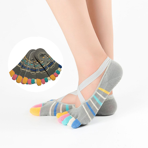 Pares Cinta Pilates Yoga Meias Mulheres Cinco Toe Bandagem Esportes Coloridas Dedo Confortável Invisível Anti-derrapante 5