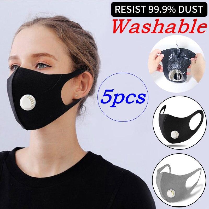 5Pcs Washable Earloop Breathable Mask Anti Pollution Pm2.5 Thicken Respiratory Valve Dust Mask Upgrade Unisex Anti-fog Haze Dust