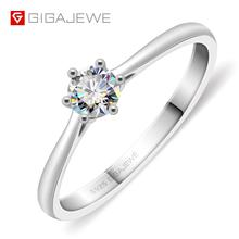 GIGAJEWE 0.3ct 4mm Round Cut EF VVS1 Moissanite 925 Silver Ring Diamond Test Passed Fashion Girlfriend Women Christmas Gift
