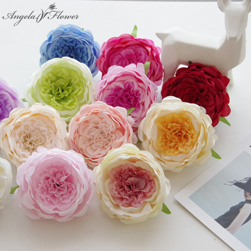 15 Heads Artificial Silk Flowers Mini Roll Heart Rose Wedding Bouquet Home Decor