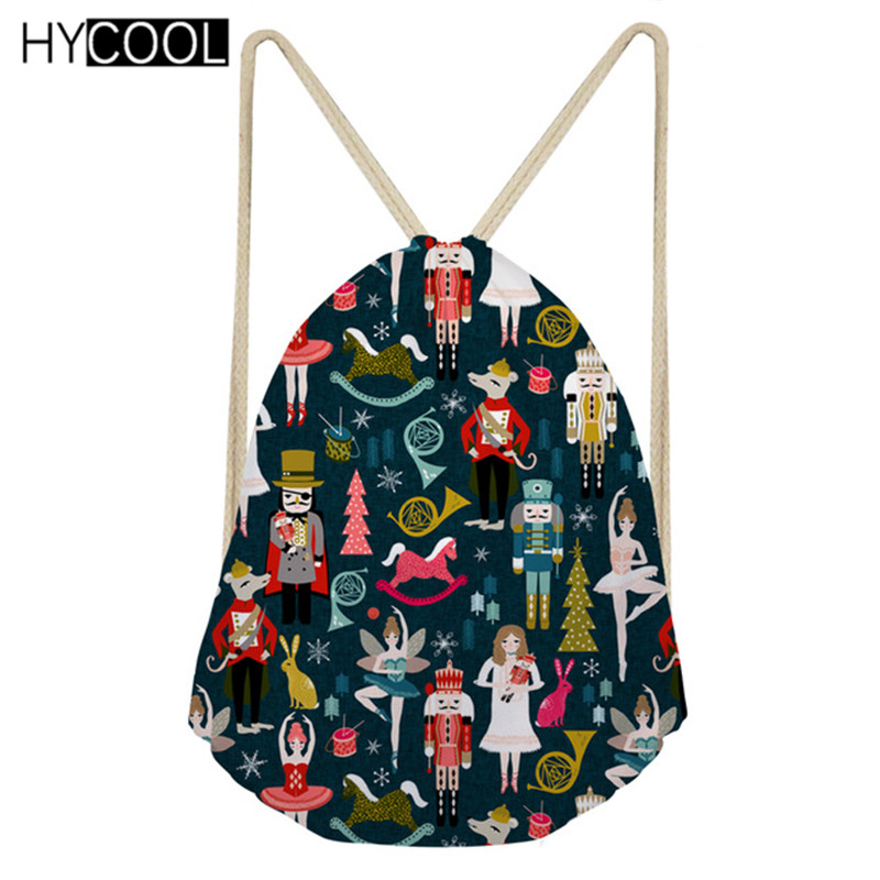 HYCOOL 2019 Vintage Nutcracker Ballet Christmas Drawstring Gift Bags Santa Claus Design Mochila Kids Girls Backpack Clothes Bag