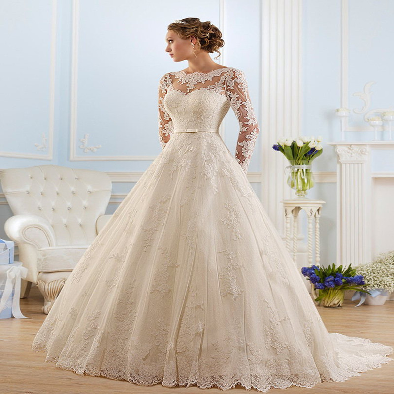 Hot Sale Long Sleeve Lace Appliques Lace Up Wedding Dress Hot8 A-line Vestido De Noiva Princesa Wedding Dresses Bridal Gown