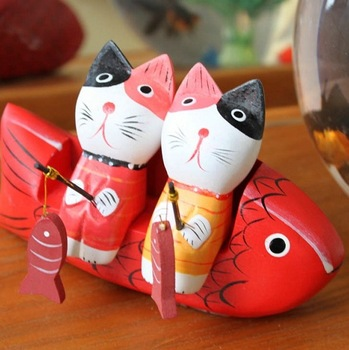 Ceramics lovers little cat creative gifts lovely kitten fishing decorate arts and crafts living room desktop decoration