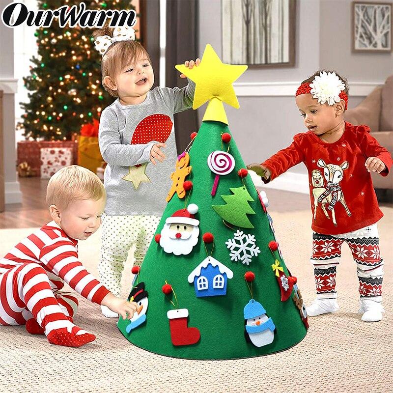 Ourwarm diy criança sentiu árvore de natal com ornamentos pendurados crianças natal presentes de ano novo feliz natal festa decoração