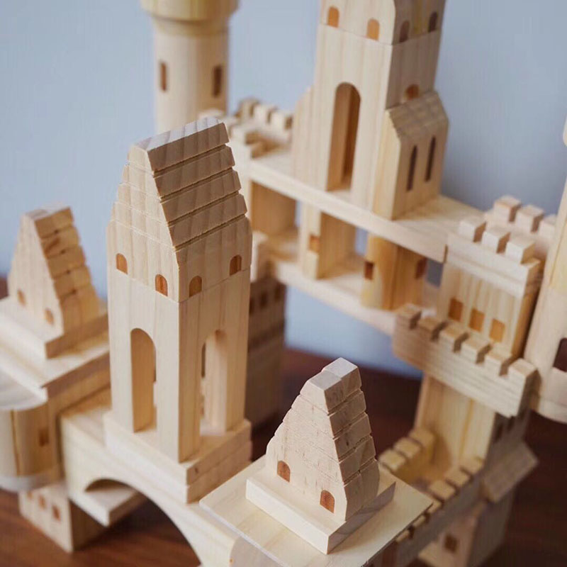 HOT SALE] 66/75pcs/box Children Original Wooden Castle